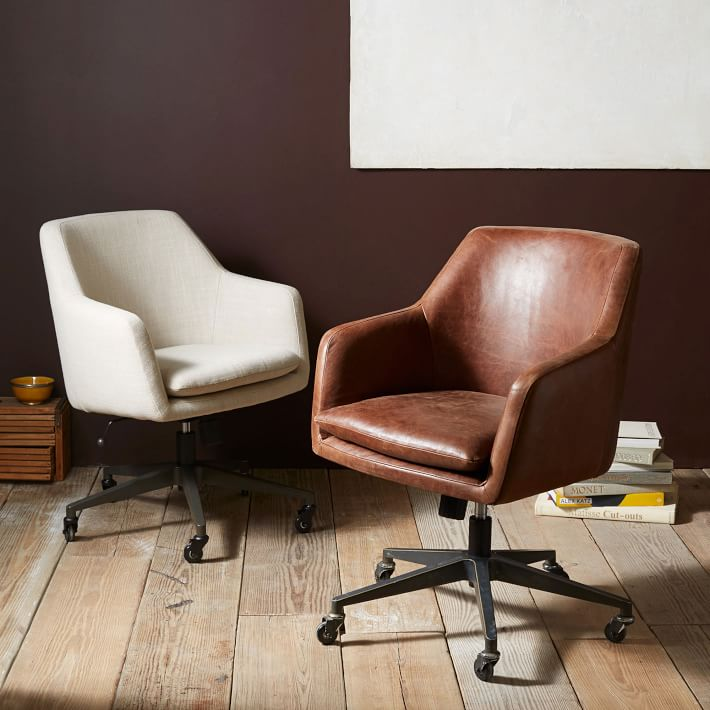 office side chairs kitchen chair seat replacement helvetica leather west elm