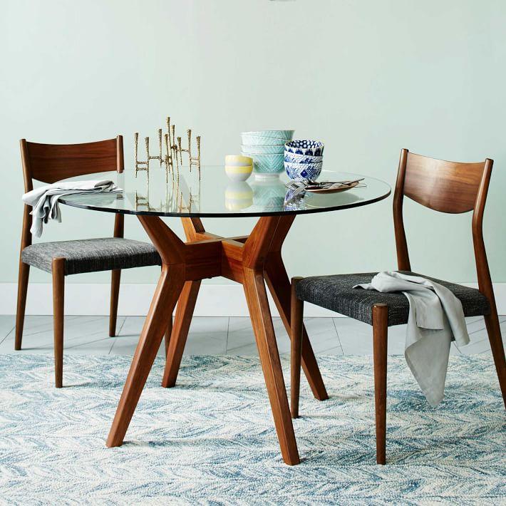 kitchen table round modern lights jensen glass dining west elm