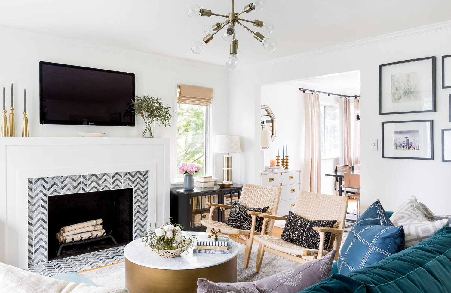 west elm living rooms small room ideas fireplace comfortable glamour in a seattle cape cod front main eclectic glam style