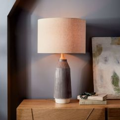 Large Table Lamps For Living Room Layout Ideas With Tv And Fireplace Roar Rabbit Ripple Ceramic Lamp Narrow Warm Gray West Elm