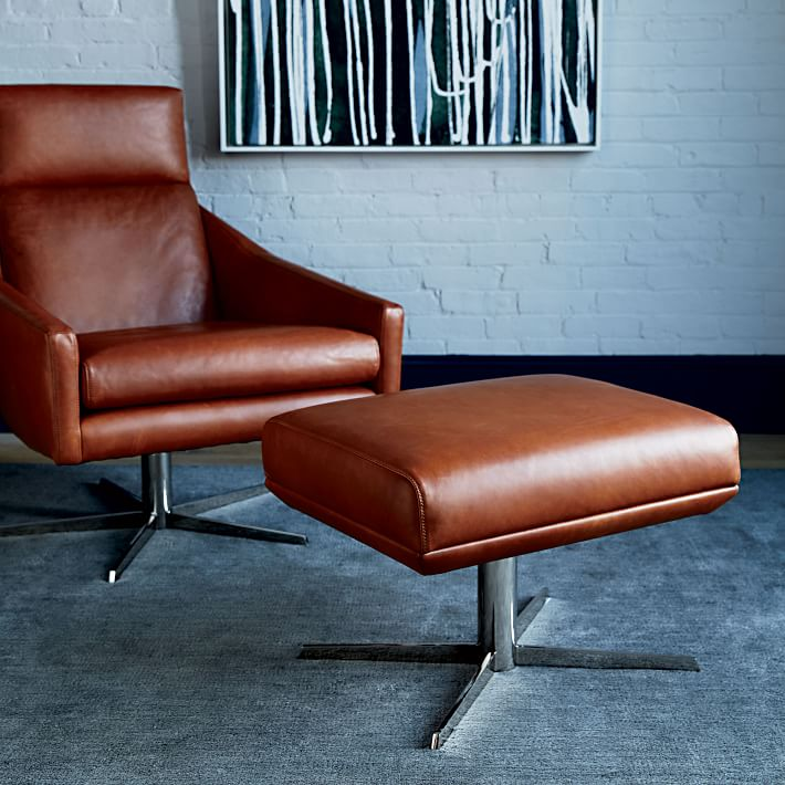 leather chair ottoman round sofa living room furniture austin west elm