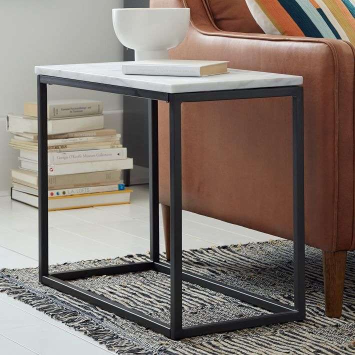 small side table for living room north shore dark brown set box frame narrow marble antique bronze west elm