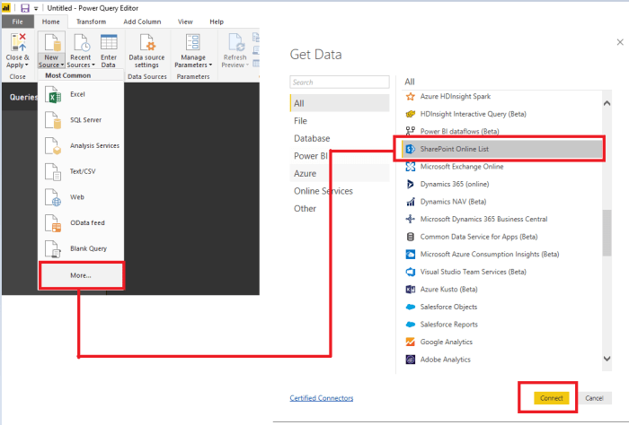 O365 SharePoint Power BI select list.