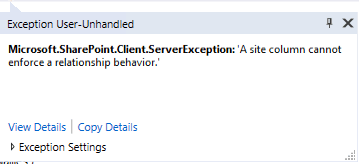 O365 SharePoint site column error.