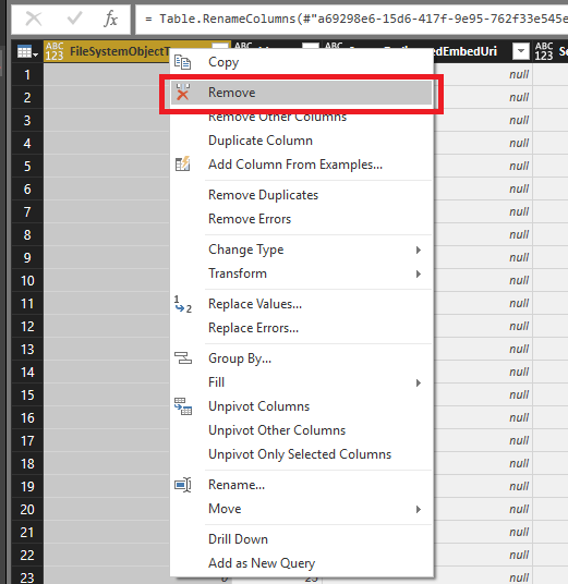 O365 SharePoint Human Resources deleting Power BI column.