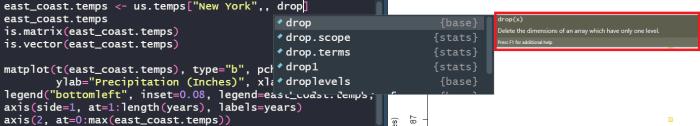 R drop documentation.