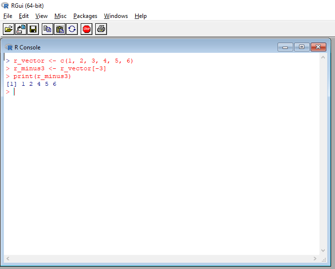 R vector with negative index