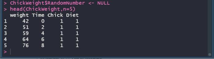 R data frame removing columns.