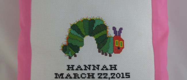 Hannah Cross Stitched Caterpillar Pillow