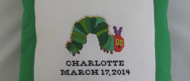 Charlotte Cross Stitched Caterpillar Pillow