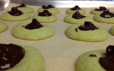 Pistachio and Chocolate Thumbprint Cookies