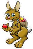 Feine Osterhasen-Illustration mit bunten Ostereiern coloriert.
