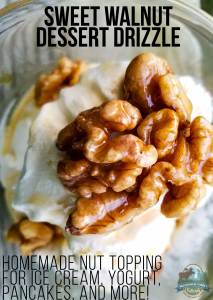 Sweet Walnut Dessert Drizzle {homemade nut topping for ice cream, yogurt, pancakes, and more!}
