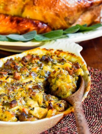 Grain-Free Stuffing With Sausage & Apples | Even your grain-free friends can enjoy stuffing this year! Grain-free stuffing with sausage and apples is the perfect complement to a Paleo holiday feast! | WildernessFamilyNaturals.com