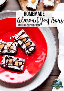 Homemade Almond Joy Bars (Paleo & Gluten-Free) | After several yummy failures, I figured out a delicious concoction that satisfies on all levels. These Paleo Almond Joy Bars are full of flavor and have the same texture as the commercial bars -- without the unhealthy refined sugars. | WildernessFamilyNaturals.com