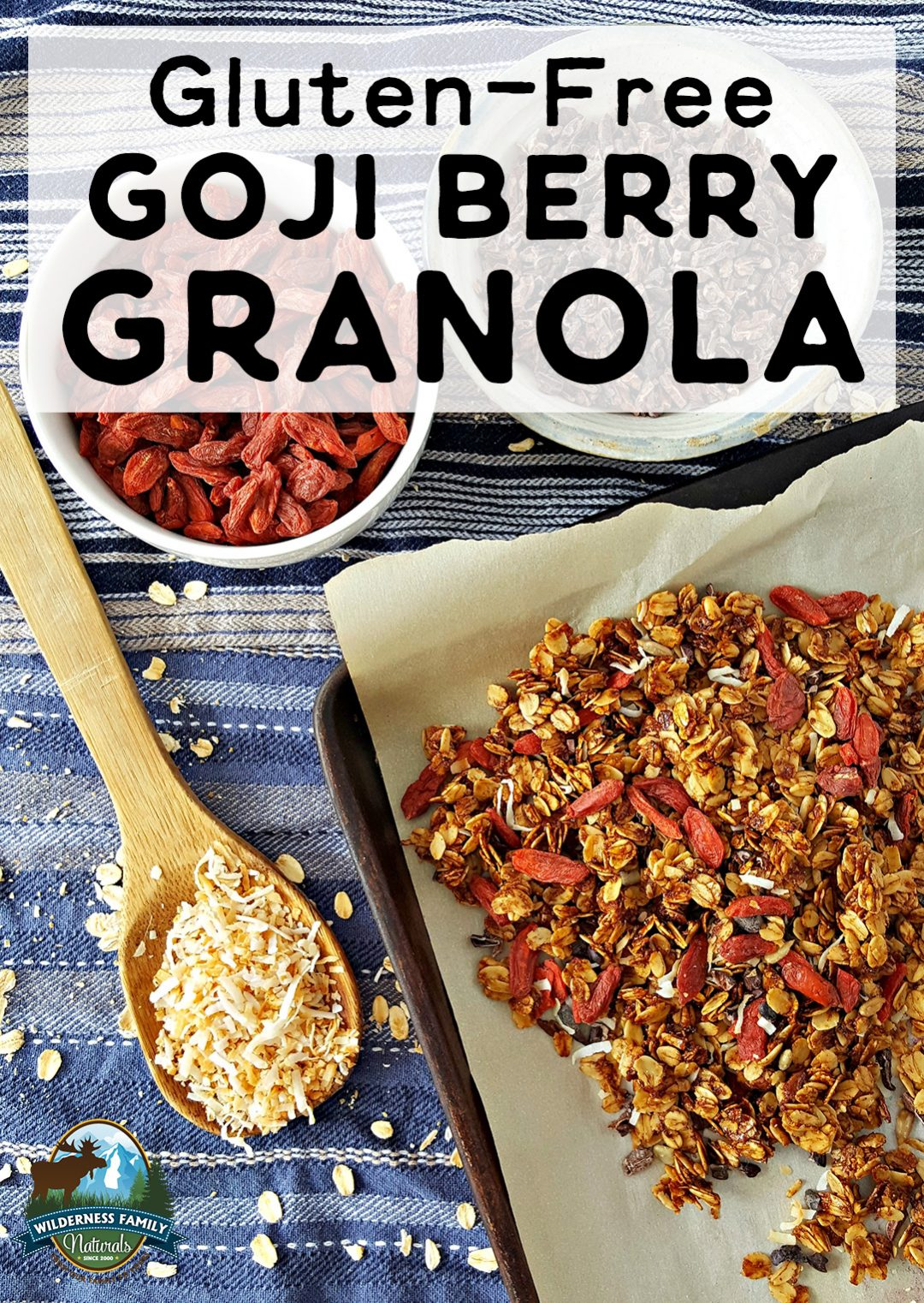 Photo of a sheet pan with goji berri granola and a bowl of goji berries.