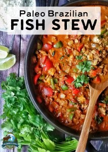 Paleo Brazilian Fish Stew | Rich and flavorful, this traditional Paleo Brazilian fish stew uses sustainably sourced red palm oil and is full of nourishing broth and fresh flavors like lime, chili, and cilantro! | WildernessFamilyNaturals.com