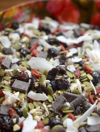 Nut-Free & Nourishing Tropical Twist Trail Mix | When store-bought trail mix is full of allergens like tree nuts and peanuts, make your own nut-free mix! With superfood goodness and no refined sugar, this Tropical Twist Trail Mix is awesome for camping, hiking, RVing, or just fun summer snacking! | WildernessFamilyNaturals.com