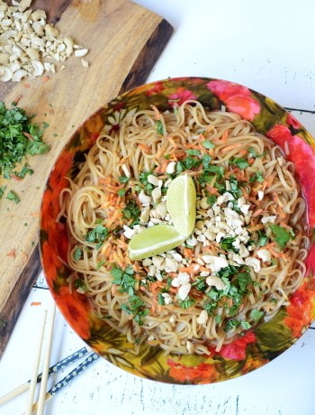 Family-Style Pad Thai {vegan & vegetarian options!} | Pad Thai is a classic Asian dish found at restaurants the world over -- and for good reason. It's one of the simplest, yet most flavorful gluten-free dishes ever! A perfect balance of salty, sweet, and spicy, this Family-Style Pad Thai makes weeknight dinner a no-fuss process! | WildlyOrganic.com