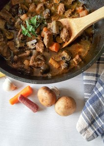 Cold winter days call for hot and hearty soups and stews, like this Hearty Paleo Beef and Mushroom Stew! Even without potatoes, meat-and-potato lovers will devour it! This low-carb stew has a secret... Dark roasted coffee and fresh marjoram create an aromatic experience as it bubbles away in your kitchen!