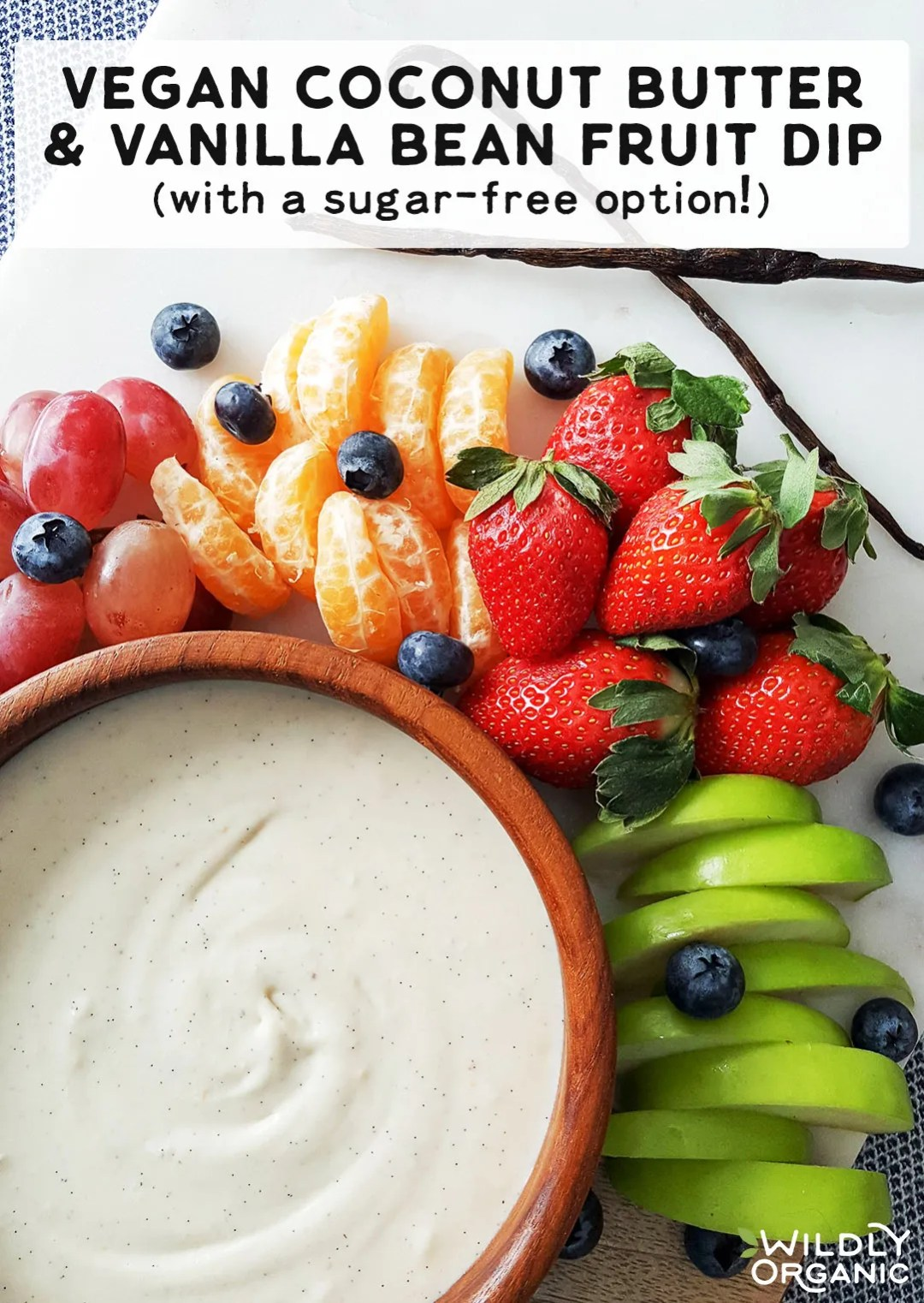 Most of the time, fruit dips are loaded with little more than sugar. Avoid that and try this delicious, healthy Vegan Coconut Butter & Vanilla Bean Fruit Dip! With healthy fats and a sugar-free option, here's your new favorite way to enjoy fruit!