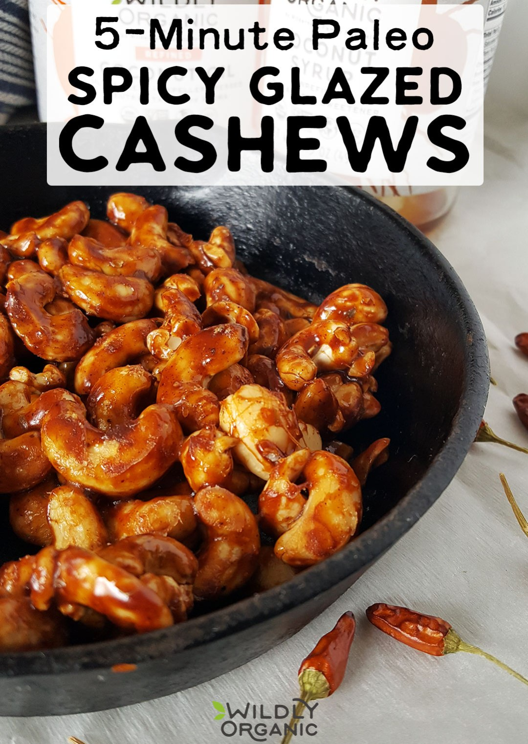 Warning: these Paleo Spicy Glazed Cashews are addictive! Deep, golden brown sweetness, a dash of saltiness, and a kick of heat combine to make a healthy Paleo and vegan snack in just 5 minutes!