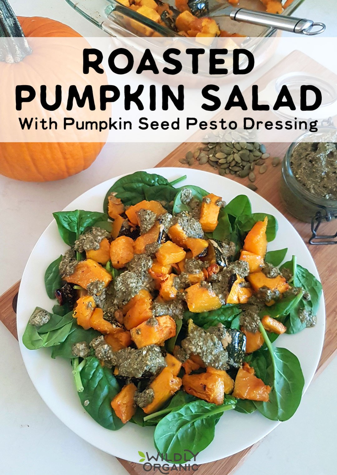 The beauty of this roasted pumpkin salad with pumpkin seed pesto dressing is that you can use ANY squash, not just pumpkin! Enjoy this for your next healthy BBQ or cookout and wow your guests with just how yummy a seasonal salad can be!