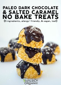 Paleo Dark Chocolate & Salted Caramel No-Bake Treats {5 ingredients, allergy-friendly, & vegan, too!} With just 5 healthy and delicious ingredients, how can you go wrong with these Paleo Salted Caramel & Dark Chocolate No-Bake Treats? They're nut-free, dairy-free, egg-free, peanut-free, soy-free, gluten-free, grain-free, and even sugar-free!These no-bake treats are perfect healthy summer snacking for everyone!