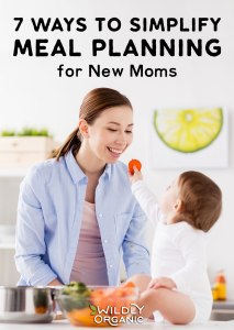Photo of Mom and Toddler in the kitchen eating veggies   7 Ways to Simplify Meal Planning for New Moms   Seven ways to simplify meal planning to allow you to spend less time stressing in the kitchen and more time focusing on your family. #mealplan #mealprep #realfood #easyrecipes #healthyliving #healthylife #newmom