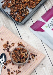 Crunchy cacao granola is gluten-free, dairy-free, vegan, refined sugar-free and makes a perfect snack. Sprinkle it on your smoothie or your morning yogurt!