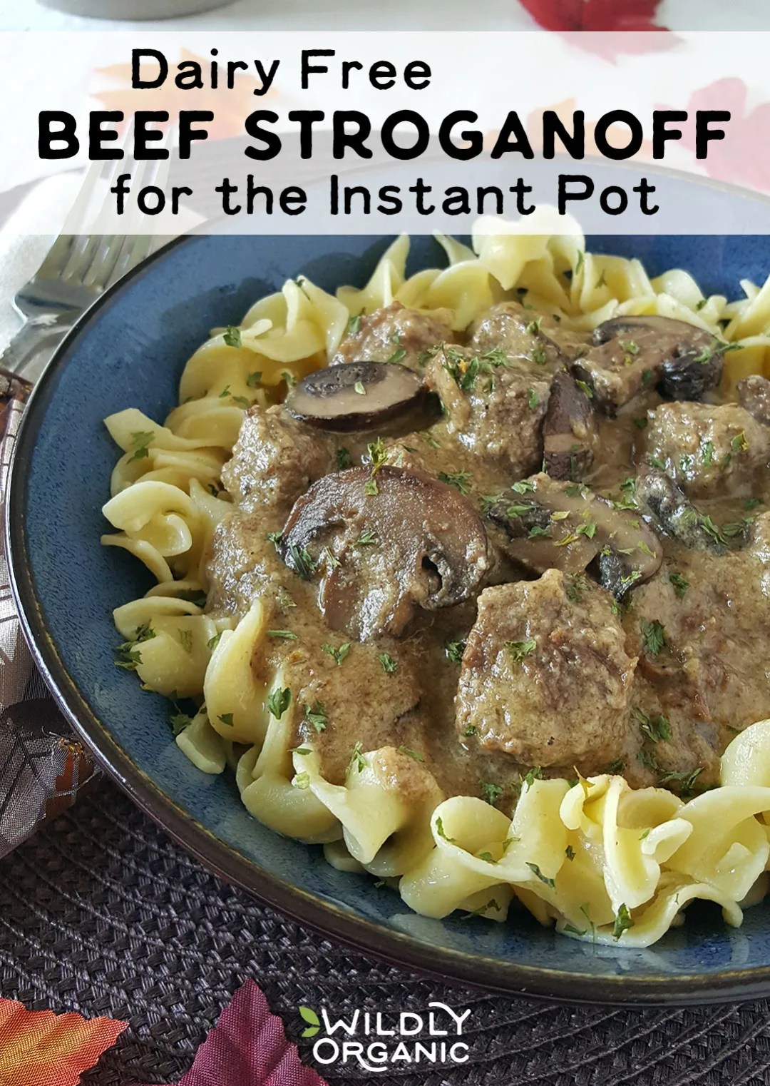 Photo of Dairy Free Beef Stroganoff | Traditionally, beef stroganoff is a creamy-sauced comfort food made with European smetana, or soured cream. Braising beef chunks low and slow in the oven results in beautifully tender beef -- IF you have the time. If you can't have dairy and don't have that kind of time, I've got good news for you! This Dairy Free Beef Stroganoff for the Instant Pot is just what you need.