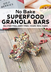 Photo of superfood granola bars with goji berries | No-Bake Superfood Granola Bars | Whip up a big batch of these no-bake superfood granola bars and toss them in your freezer for busy days. They're gluten-free, dairy-free, vegan!