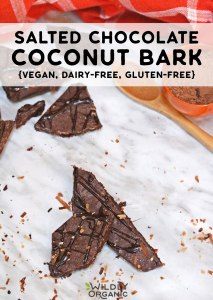 Photo of pieces of salted chocolate coconut bark on marble