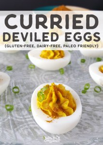 Photo of Curried Deviled Eggs on a plate.