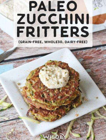 Photo of three paleo zucchini fritters on a plate