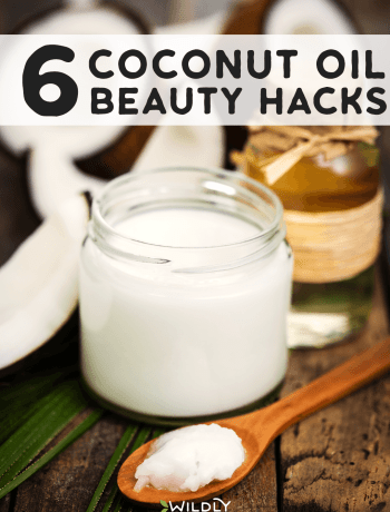A photo of a jar of coconut oil with a spoon of coconut oil to use in beauty hacks.
