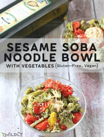 A photo of a bowl of sesame soba noodles with vegetables topped with hemp hearts.