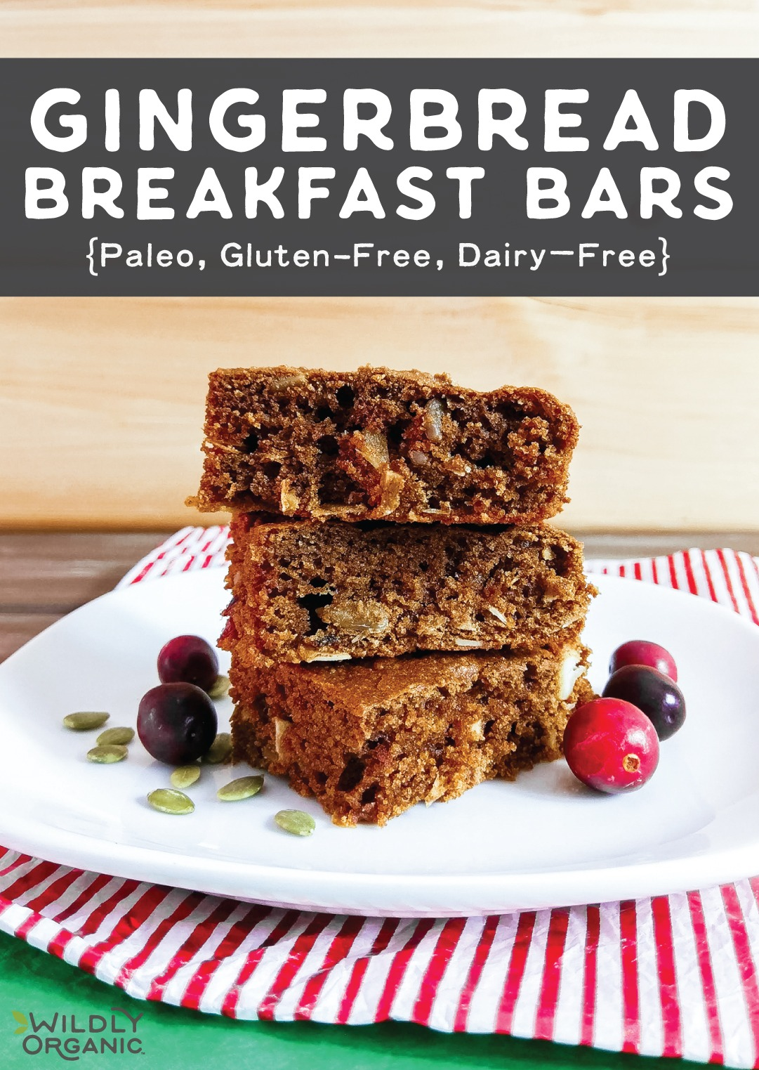 A photo of a stack of three gingerbread breakfast bars with pumpkin seeds and cranberries on a white plate.