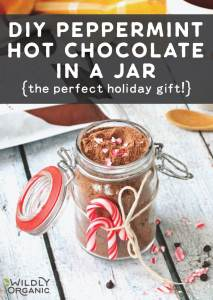 A photo of a jar of peppermint hot chocolate in a jar tied with twine and two mini candy canes with a bag of Wildly Organic Hot Chocolate Mix in the background.