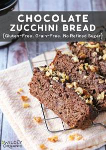 A photo of chocolate zucchini bread on a wire cooling wrap with walnuts.