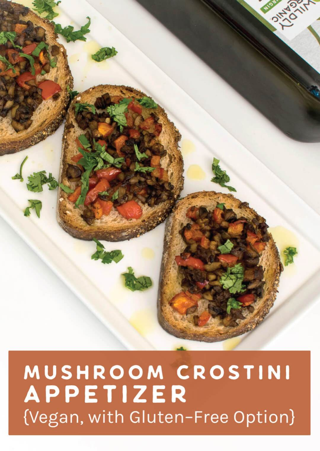Mushroom Crostini Appetizer {Vegan, with Gluten-Free Option}