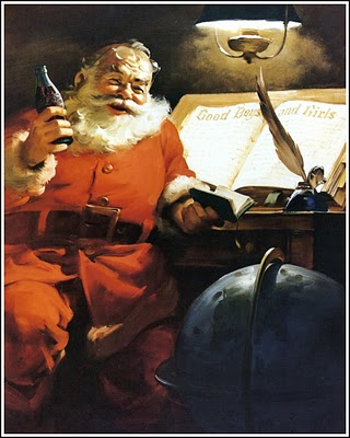 1951 Santa by desk and globe
