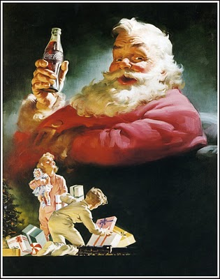 1952 Santa with coke and boy and girl with gifts