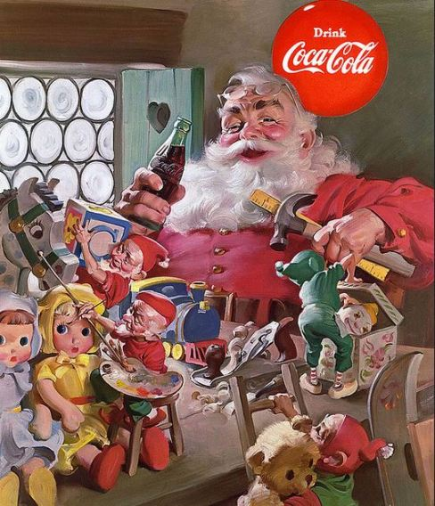 1953 Santa and workship filled with toys flckr