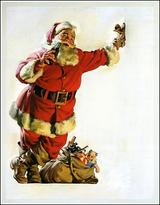 1954 Santa leaning on wall with coke and boot crossed