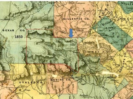 1850 map of State of Texas by J. DeCordova