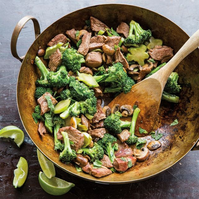 Stir-Fried Lamb with Broccoli and Mushrooms