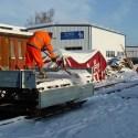 Doch bald ging es los mit Schneebeseitigung am Kl-Anhänger und an den Gleisanlagen