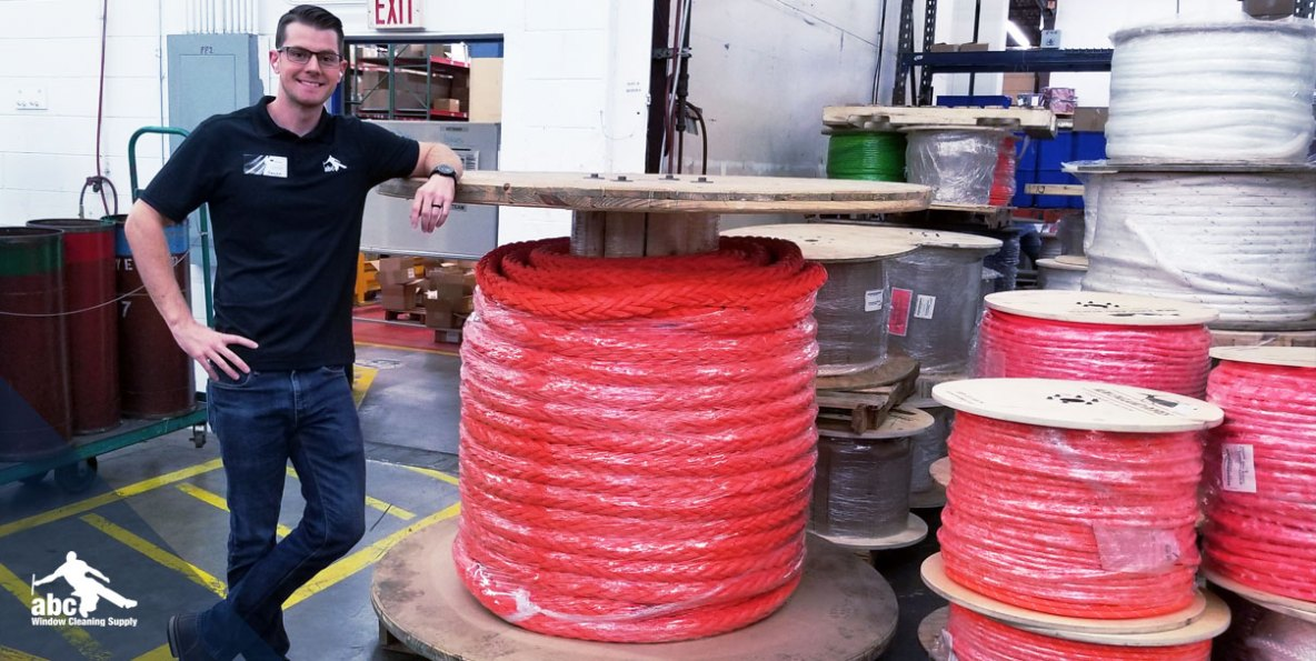 abc's Hazen Warlick, posing with a spool of marine rope.