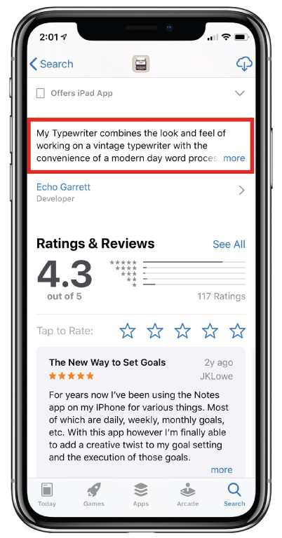 App Store description snippet, showing that you can include approximately 144 characters